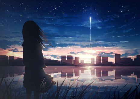 Фото Девушка смотрит на падающую звезду в закатном небе, by JW