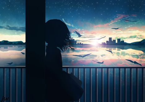 Фото Силуэт девушки смотрящей на морской закат, by JW