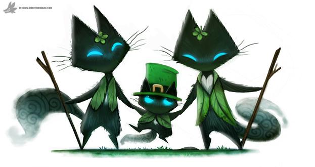 Фото Три черных котов с голубыми глазами в день Патрика, by Cryptid-Creations