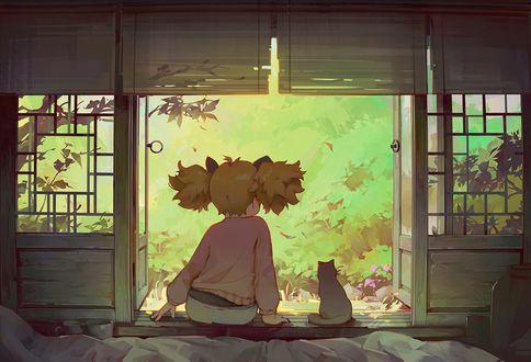 Фото Девочка с кошкой сидят на окне, by Chen Chen