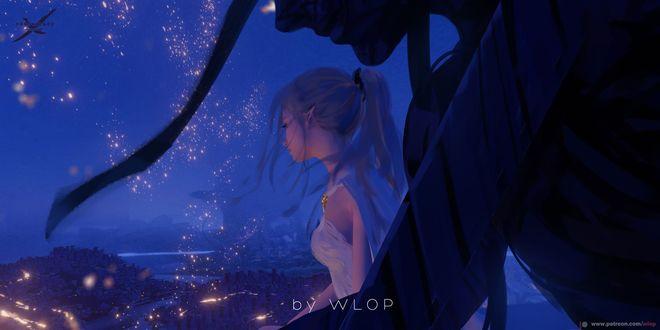 Фото Девушка - эльфийка и мужчина на фоне неба, by WLOP