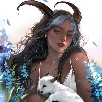 Фото Девушка в образе Козерога держит на руках козленка, by Jyundee