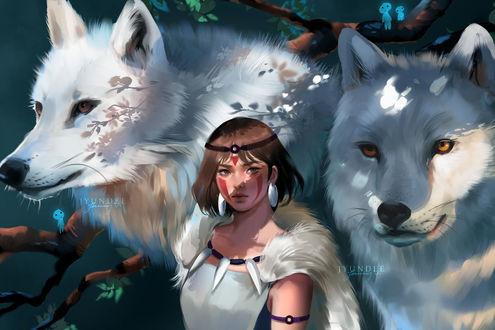 Фото Сан / San, двое белых волков и лесные духи из аниме Принцесса Мононоке / Mononoke Hime, by Jyundee