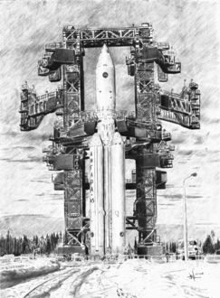 Фото Рисунок ракеты-носителя Ангара-А5 на старте