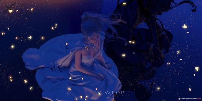 Фото Девушка - эльфийка в белом платье в окружении светящихся мотыльков, by WLOP