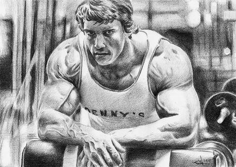 Фото Рисунок Арнольда Шварценеггера / Arnold Schwarzenegger простым карандашом, автор Алексей Паршуков (alex_darkart)