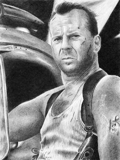 Фото Рисунок Брюса Уиллиса / Bruce Willis из фильма Крепкий орешек / Die Hard, автор Алексей Паршуков (alex_darkart)
