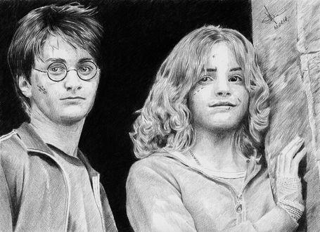 Фото Рисунок карандашом по фильму Гарри Поттер, актеры Daniel Radcliffe / Дэниэл Рэдклифф и Emma Watson / Эмма Уотсон. Автор Алексей Паршуков, alex_darkart