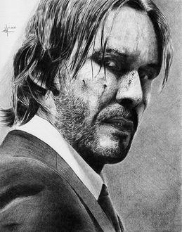 Фото Портрет Киану Ривза простым карандашом из фильма Джон Уик