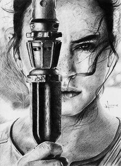 Фото Рисунок по фильму Звездные войны, портрет актрисы Дейзи Ридли. Автор Алексей Паршуков, alex_darkart