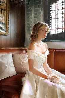 Фото Девушка - невеста сидит на диване, by Ley Bowen еј