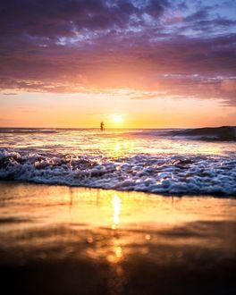 Фото Закат солнца над морем