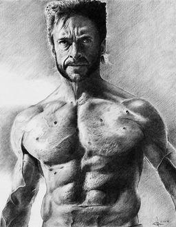 Фото Рисунок актера Хью Джекмана из фильма Люди Икс. Автор Алексей Паршуков, alex_darkart