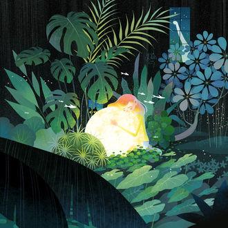 Фото Девочка обнимает луну, сидя в траве, из окна на нее смотрит черная кошка, by Little Oil