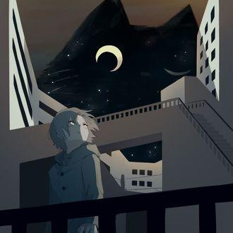 Фото Мальчик стоит на балконе, над домами возвышается черная кошка-ночь, by avogado6