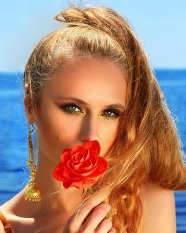 Фото Модель Наталья Макарук с розой в руке, фотограф Александра Балашова