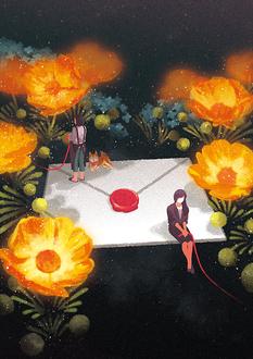 Две девушки, держащие в руках красную нить, и собака на белом конверте среди желтых цветов