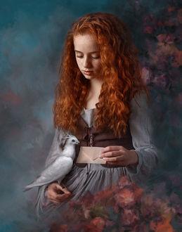 Фото Девушка с голубем на руке. Фотограф Evgeny Loza