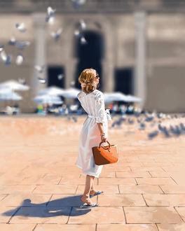 Фото Девушка с сумочкой стоит на площади с голубями, by Gabriel Wigren