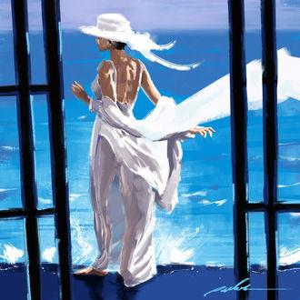Фото Девушка в белом платье и шляпе стоит на фоне моря, by Sergey Orlov
