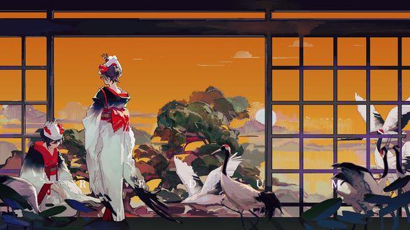 Фото Две японские девушки в кимоно а комнате с реди стаи журавлей