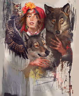 Фото Девушка с цветами на голове, с совой и волками, by Kaloyan Stoyanov