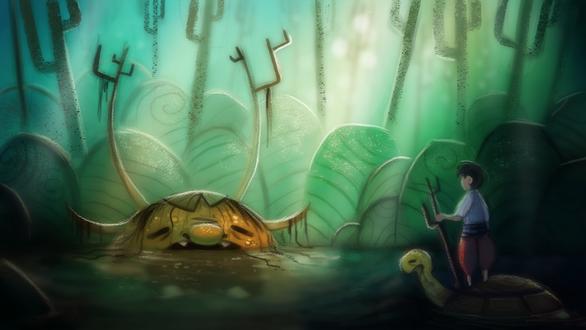 Фото Болотно чудовищем перед мальчиком на большой черепахе, by Cryptid-Creations