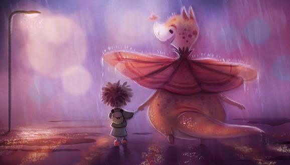 Фото Динозаврик с ребенком под дождем, by Cryptid-Creations