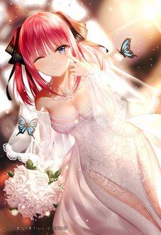 Фото Nakano Nino в свадебном наряде с букетом из аниме Toubun no Hanayome / Пять невест, by Junpaku Karen