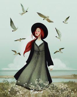 Фото Девушка в шляпе стоит в окружении парящих птиц над ней