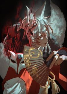 Фото Демон Томое / Tomoe с веером и маской на плече из аниме Очень приятно, Бог / Kamisama Hajimemashita, by Torinmo