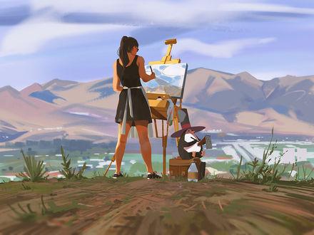 Фото Девушка стоит за мольбертом и рядом сидит пингвин в шляпе, by snatti89 - Atey Ghailan