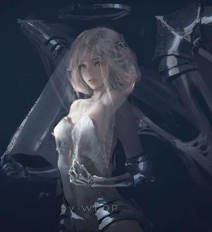Фото Девушка ангел - киборг с железными крыльями и нимбом, by WLOP