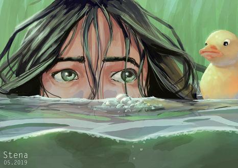 Фото Девушка в воде рядом с уткой, by St3n4