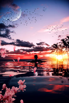 Фото Девушка в воде на фоне заката, by Armand Ymeri
