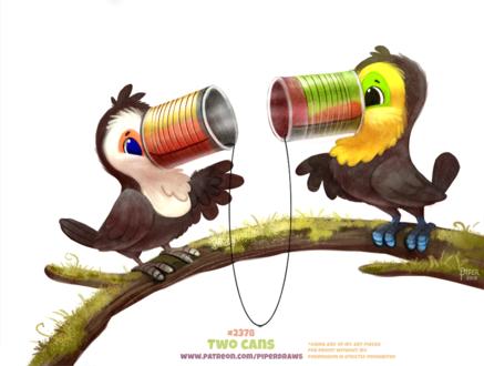 Фото Два тукана с банками вместо клювов на ветке (Two Cans), by Cryptid-Creations