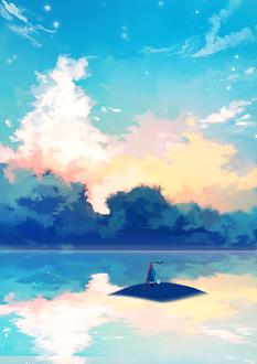 Фото Девочка стоит на островке в окружении воды на фоне облачного неба