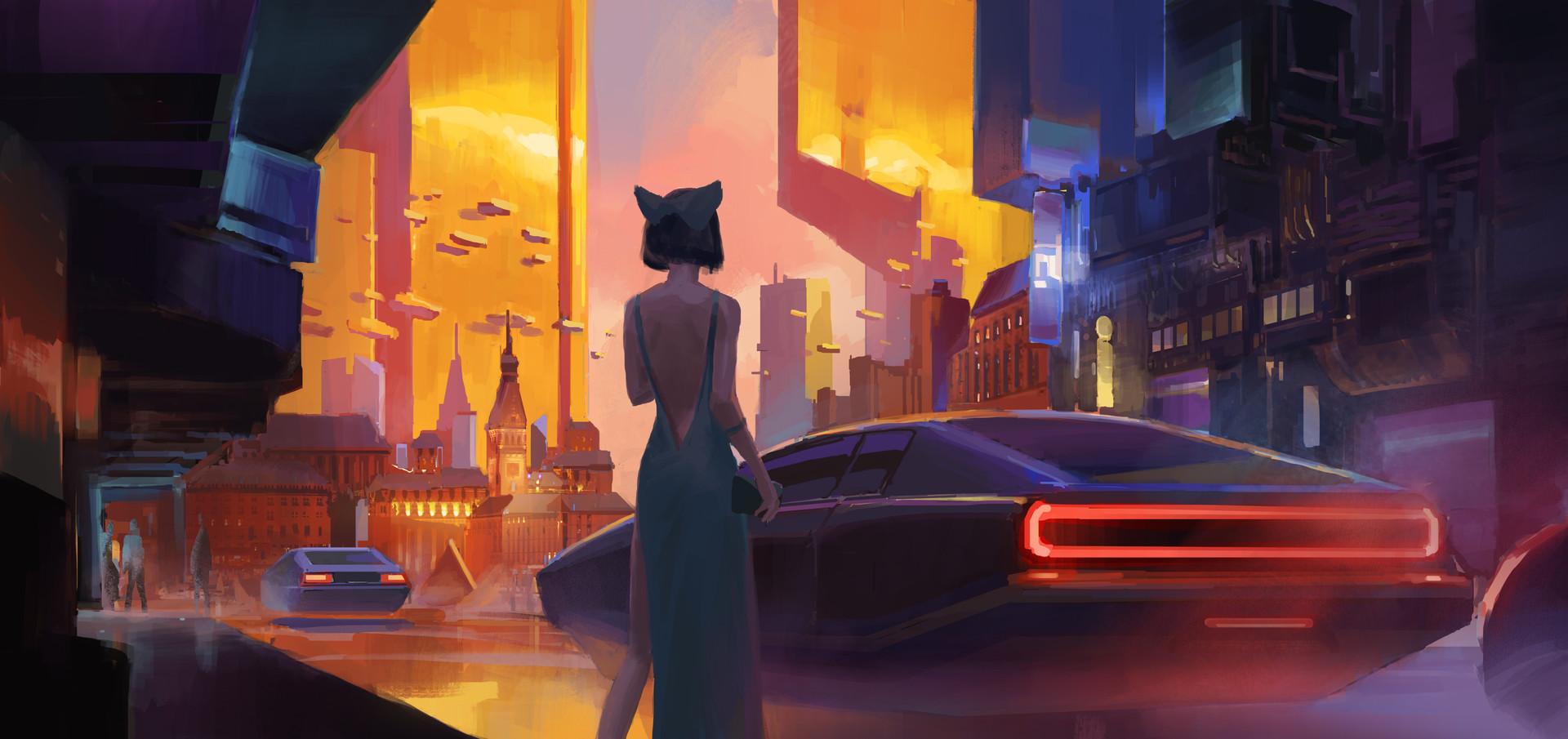 Фото Девушка в длинном платье стоит перед авто, by Frank Hong