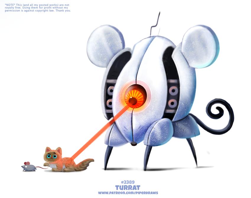 Фото Робот мышь стреляет лазером рыжего кота, который хочет поймать мышку за хвост (Turrat), by Cryptid-Creations