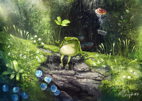 Фото Лягушка с листиком сидит на земле