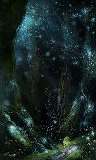 Фото Лягушка стоит на задних лапках в лесу