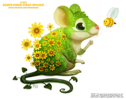 Фото Фантастическая мышка рядом с пчелкой (Sunflower Field Mouse), by Cryptid-Creations