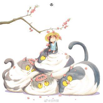 Фото Девочка и четыре толстых кота в венках из цветов сакуры