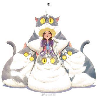 Фото Девочка и четыре толстых кота