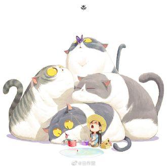 Фото Девочка и четыре толстых кота на рыбалке