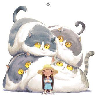 Фото Серьезная девочка, позади которой куча-мала из толстых котов