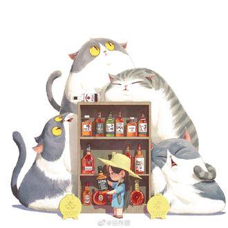 Фото Девочка и четыре толстых кота у шкафа с насттойками