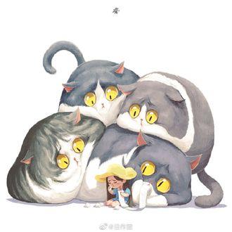 Фото Расстроенные толстые коты и девочка, вытирающая слезы туалетной бумагой