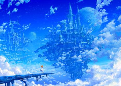 Фото Девушка стоит на мосту над небом с облаками и замком