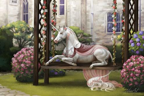 Фото -Единорог на лавочке в цветущем саду, by Naia-Art